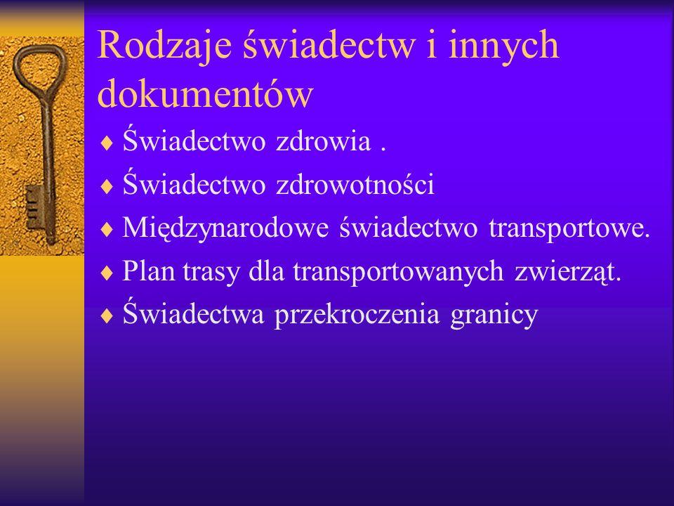 Rodzaje świadectw i innych dokumentów Świadectwo zdrowia. Świadectwo zdrowotności Międzynarodowe świadectwo transportowe. Plan trasy dla transportowan