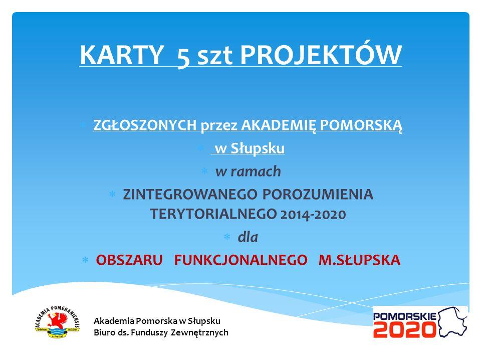 KARTY 5 szt PROJEKTÓW ZGŁOSZONYCH przez AKADEMIĘ POMORSKĄ w Słupsku w ramach ZINTEGROWANEGO POROZUMIENIA TERYTORIALNEGO 2014-2020 dla OBSZARU FUNKCJON