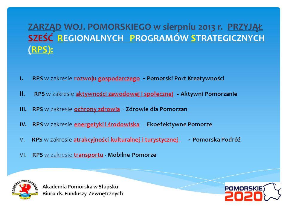 ZARZĄD WOJ. POMORSKIEGO w sierpniu 2013 r. PRZYJĄŁ SZEŚĆ REGIONALNYCH PROGRAMÓW STRATEGICZNYCH (RPS): I.RPS w zakresie rozwoju gospodarczego - Pomorsk