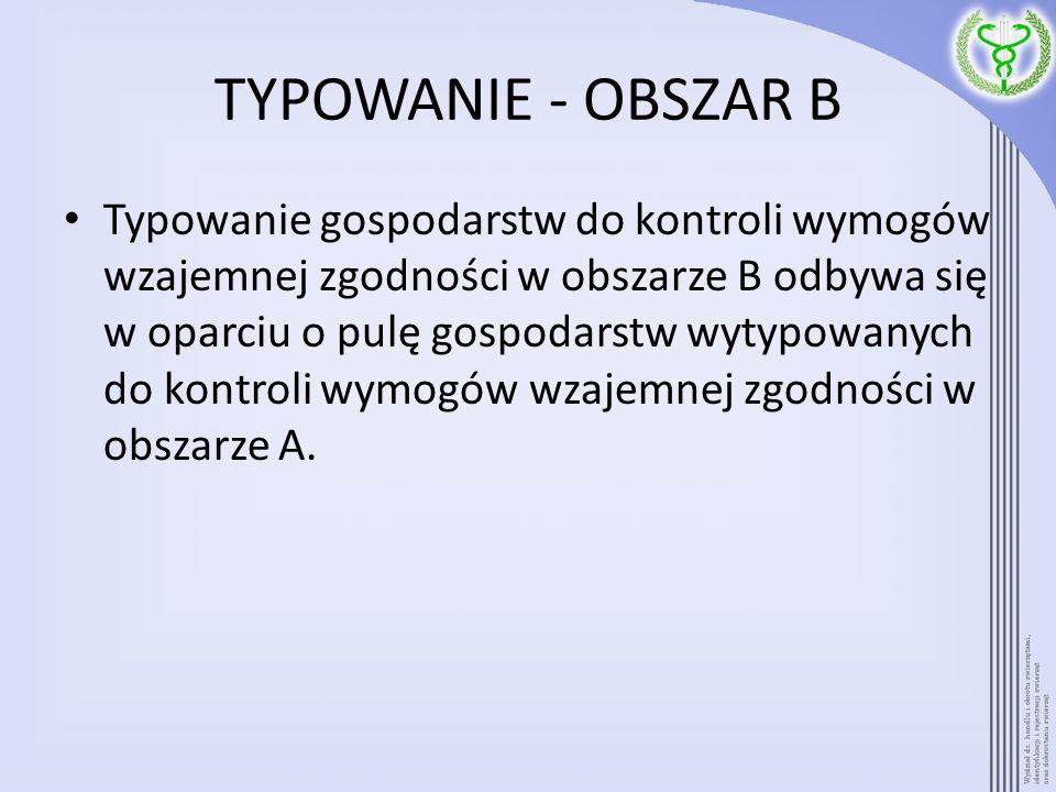 TYPOWANIE - OBSZAR B Typowanie gospodarstw do kontroli wymogów wzajemnej zgodności w obszarze B odbywa się w oparciu o pulę gospodarstw wytypowanych d