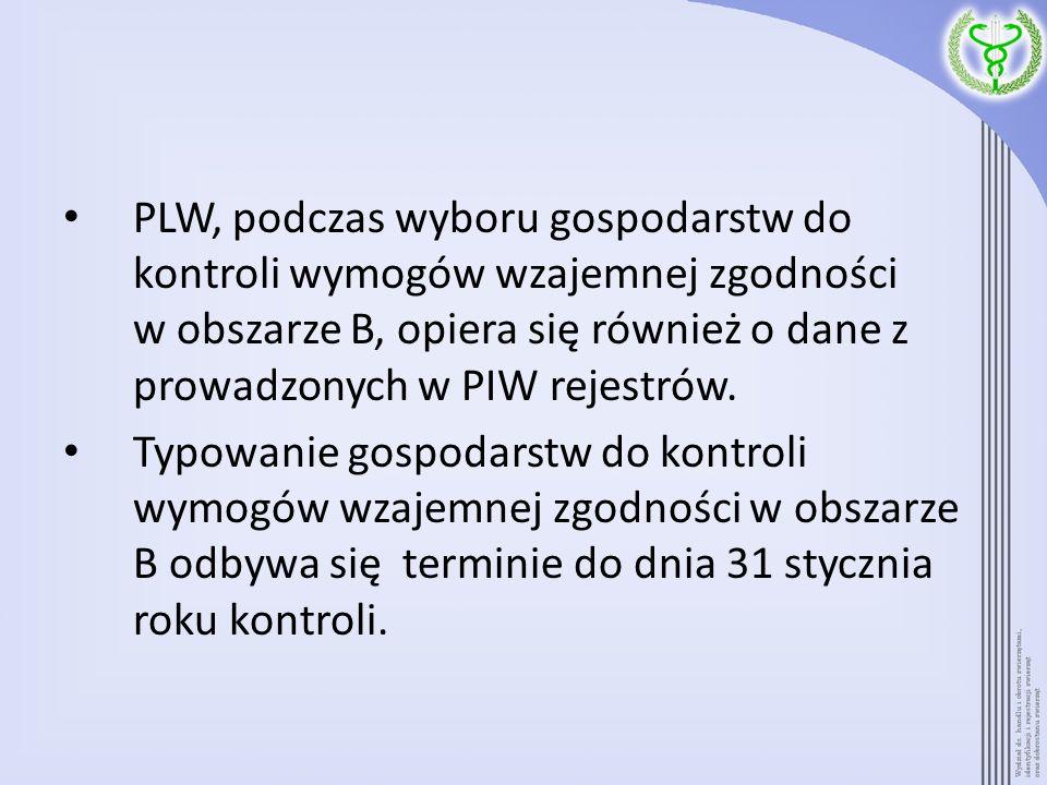 PLW, podczas wyboru gospodarstw do kontroli wymogów wzajemnej zgodności w obszarze B, opiera się również o dane z prowadzonych w PIW rejestrów. Typowa