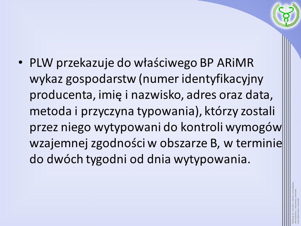 PLW przekazuje do właściwego BP ARiMR wykaz gospodarstw (numer identyfikacyjny producenta, imię i nazwisko, adres oraz data, metoda i przyczyna typowa