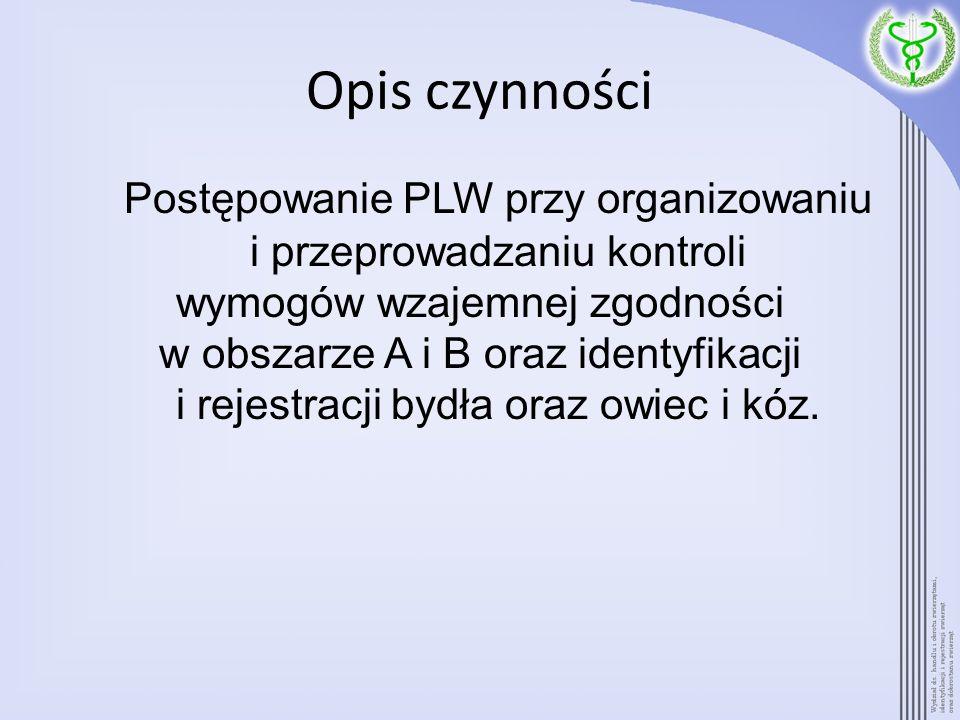Opis czynności Postępowanie PLW przy organizowaniu i przeprowadzaniu kontroli wymogów wzajemnej zgodności w obszarze A i B oraz identyfikacji i rejest