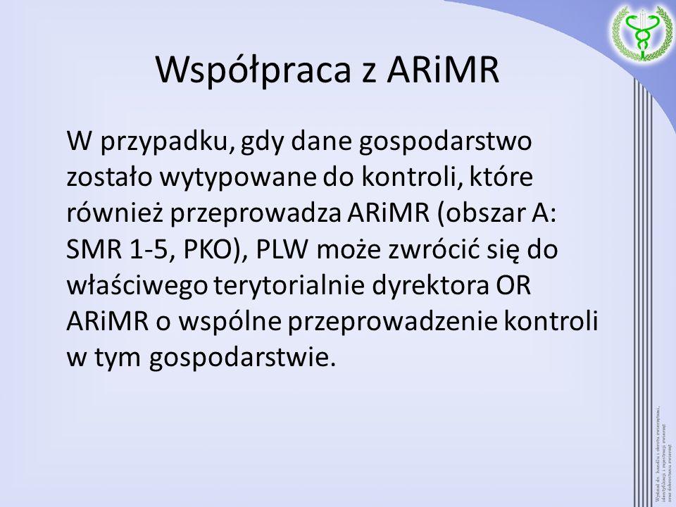 Współpraca z ARiMR W przypadku, gdy dane gospodarstwo zostało wytypowane do kontroli, które również przeprowadza ARiMR (obszar A: SMR 1-5, PKO), PLW m