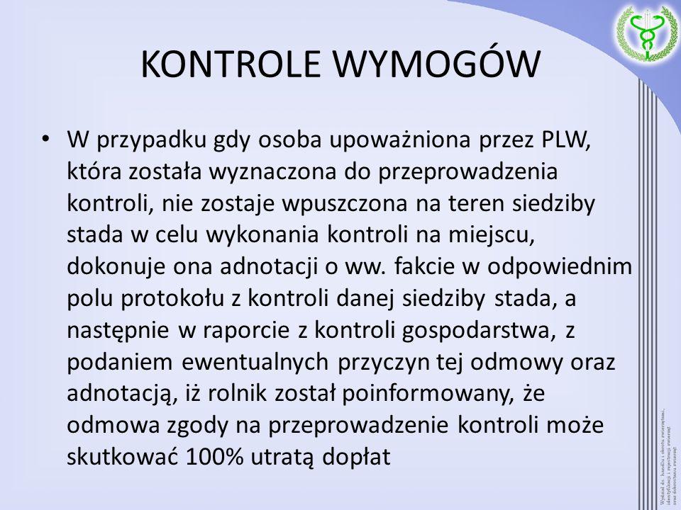KONTROLE WYMOGÓW W przypadku gdy osoba upoważniona przez PLW, która została wyznaczona do przeprowadzenia kontroli, nie zostaje wpuszczona na teren si