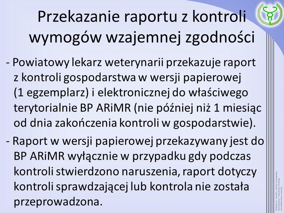 Przekazanie raportu z kontroli wymogów wzajemnej zgodności - Powiatowy lekarz weterynarii przekazuje raport z kontroli gospodarstwa w wersji papierowe