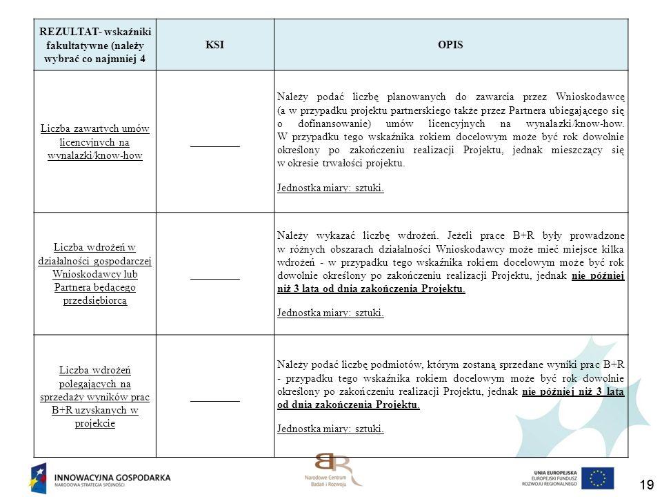 19 REZULTAT- wskaźniki fakultatywne (należy wybrać co najmniej 4 KSIOPIS Liczba zawartych umów licencyjnych na wynalazki/know-how _________ Należy pod