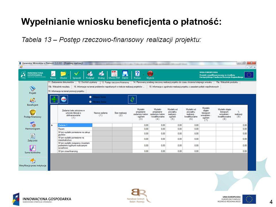 44 Wypełnianie wniosku beneficjenta o płatność: Tabela 13 – Postęp rzeczowo-finansowy realizacji projektu:
