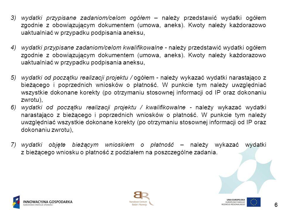 27 Najczęściej popełniane błędy przy wypełnianiu wniosku o płatność Tabela 13 – Postęp rzeczowo finansowy Należy uzupełnić wszystkie założone zadania - kolumna 1 - Zadania/założone w umowie/decyzji o dofinansowanie, realizowane w ramach projektu oraz wydatki przypisane zadaniom – kolumna 3,4 Wydatki przypisane zadaniom/celom określonym w aktualnym harmonogramie (niezależnie czy w zadaniu poniesiono koszty czy nie).