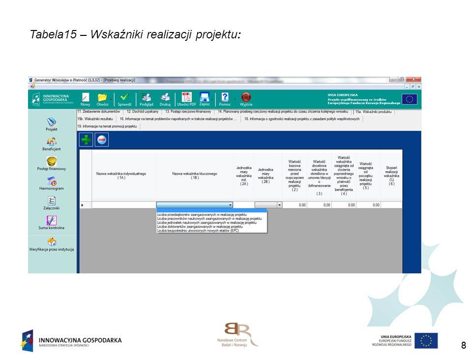 99 Punkt 15 Wskaźniki realizacji projektu (15a wskaźniki produktu, 15b wskaźniki rezultatu) 1A - nazwa wskaźnika indywidualnego (fakultatywny) - należy wprowadzić nazwę wskaźnika (produktu, rezultatu) zgodnie z nazwą założoną we wniosku o dofinansowanie, 1B - nazwa wskaźnika kluczowego (obligatoryjny) – nazwa wskaźnika (produktu, rezultatu) wybierany przez beneficjenta z listy rozwijanej, 2A – jednostka miary wskaźnika indywidualnego – wprowadzana przez beneficjenta, 2B - jednostka miary wskaźnika kluczowego - wybierana przez beneficjenta z listy rozwijanej,