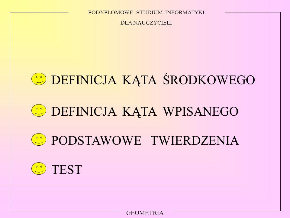 PODYPLOMOWE STUDIUM INFORMATYKI DLA NAUCZYCIELI GEOMETRIA PODSTAWOWE TWIERDZENIA TEST DEFINICJA KĄTA WPISANEGO DEFINICJA KĄTA ŚRODKOWEGO