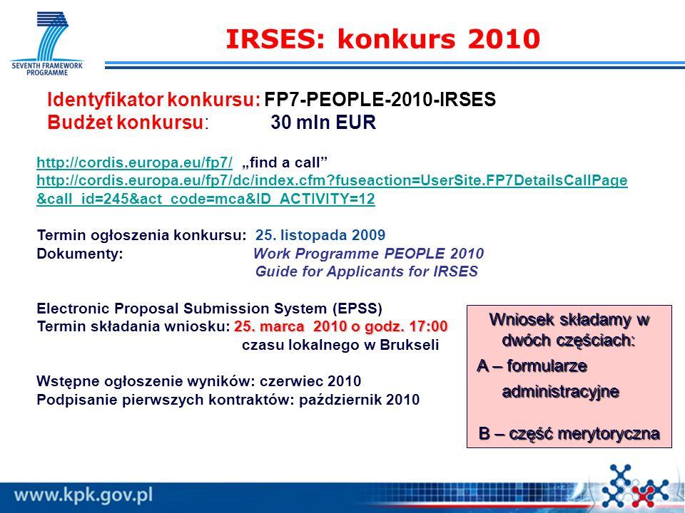 Międzynarodowa Wymiana Pracowników – IRSES Program Ludzie w 7PR Jak przygotować wniosek? Renata Downar-Zapolska Regionalny Punkt Kontaktowy ds. 7. PR
