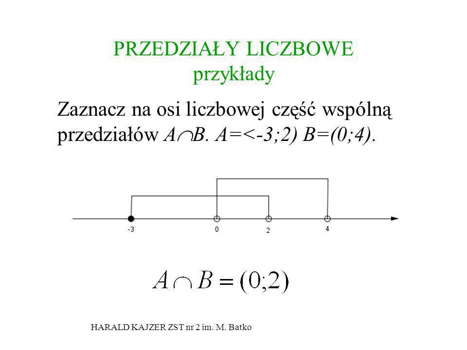 HARALD KAJZER ZST nr 2 im. M. Batko PRZEDZIAŁY LICZBOWE przykłady Zaznacz na osi liczbowej część wspólną przedziałów A B. A=<-3;2) B=(0;4).