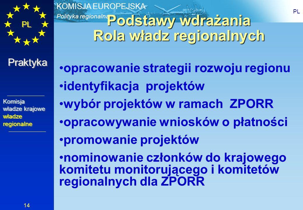 Polityka regionalna KOMISJA EUROPEJSKA PL 14 Podstawy wdrażania Rola władz regionalnych opracowanie strategii rozwoju regionu identyfikacja projektów