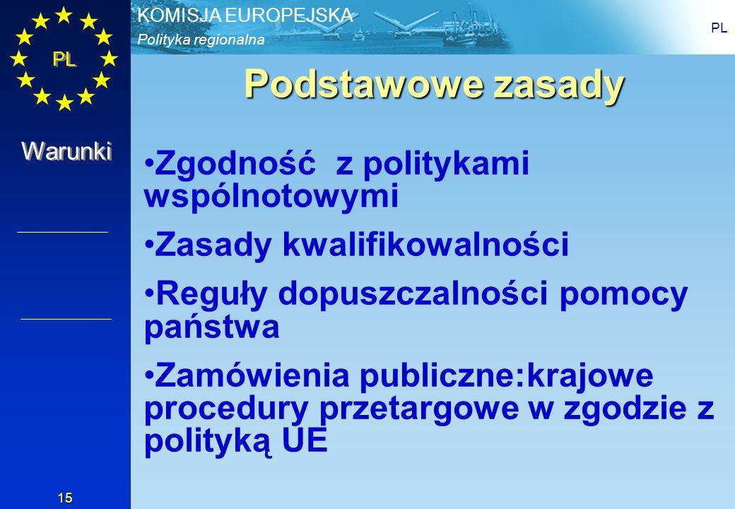 Polityka regionalna KOMISJA EUROPEJSKA PL 15 Podstawowe zasady Zgodność z politykami wspólnotowymi Zasady kwalifikowalności Reguły dopuszczalności pom