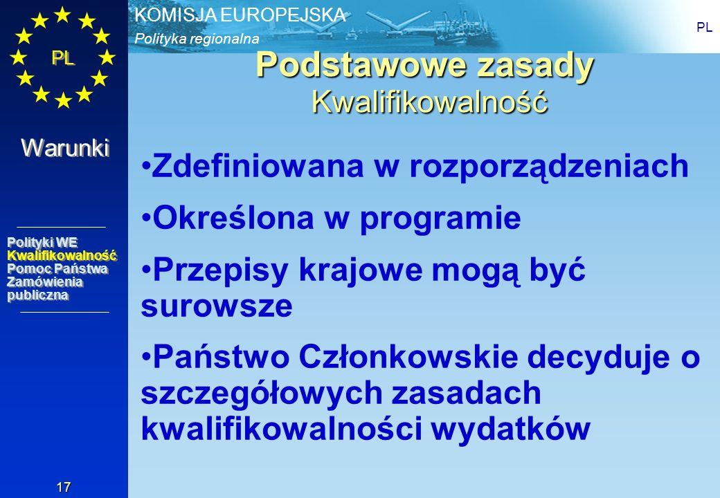 Polityka regionalna KOMISJA EUROPEJSKA PL 17 Podstawowe zasady Kwalifikowalność Zdefiniowana w rozporządzeniach Określona w programie Przepisy krajowe