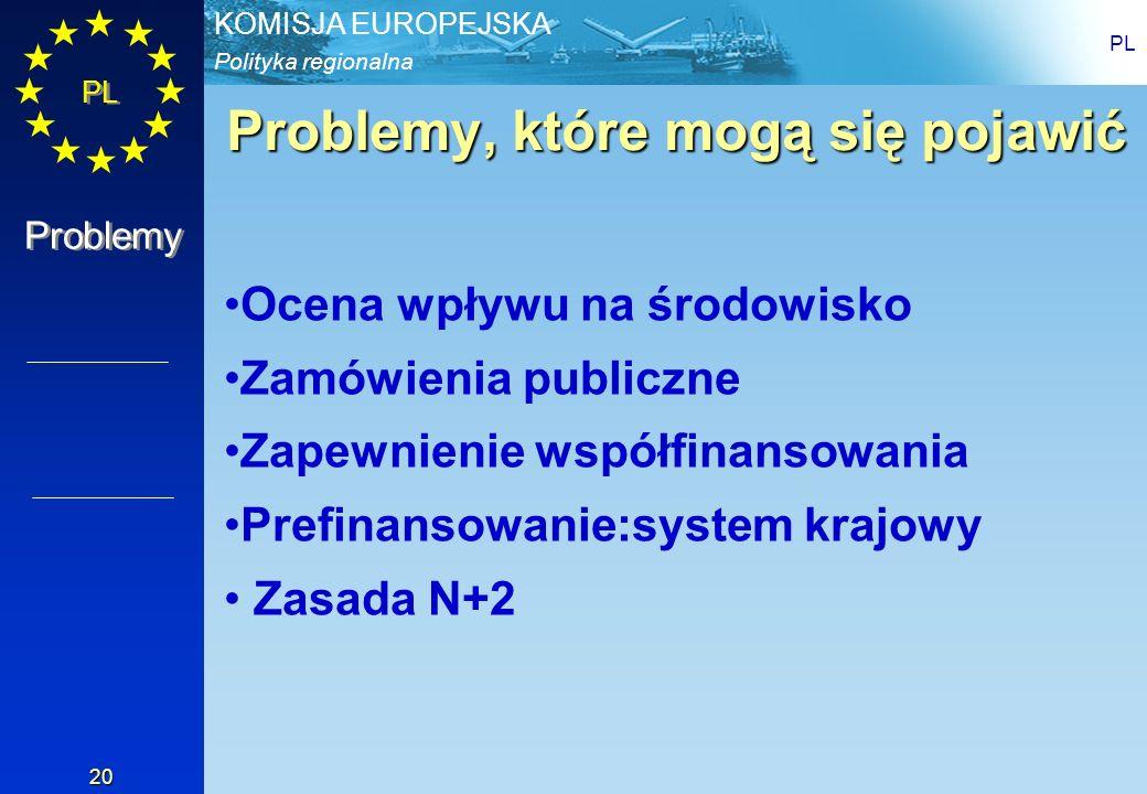 Polityka regionalna KOMISJA EUROPEJSKA PL 20 Problemy, które mogą się pojawić Ocena wpływu na środowisko Zamówienia publiczne Zapewnienie współfinanso