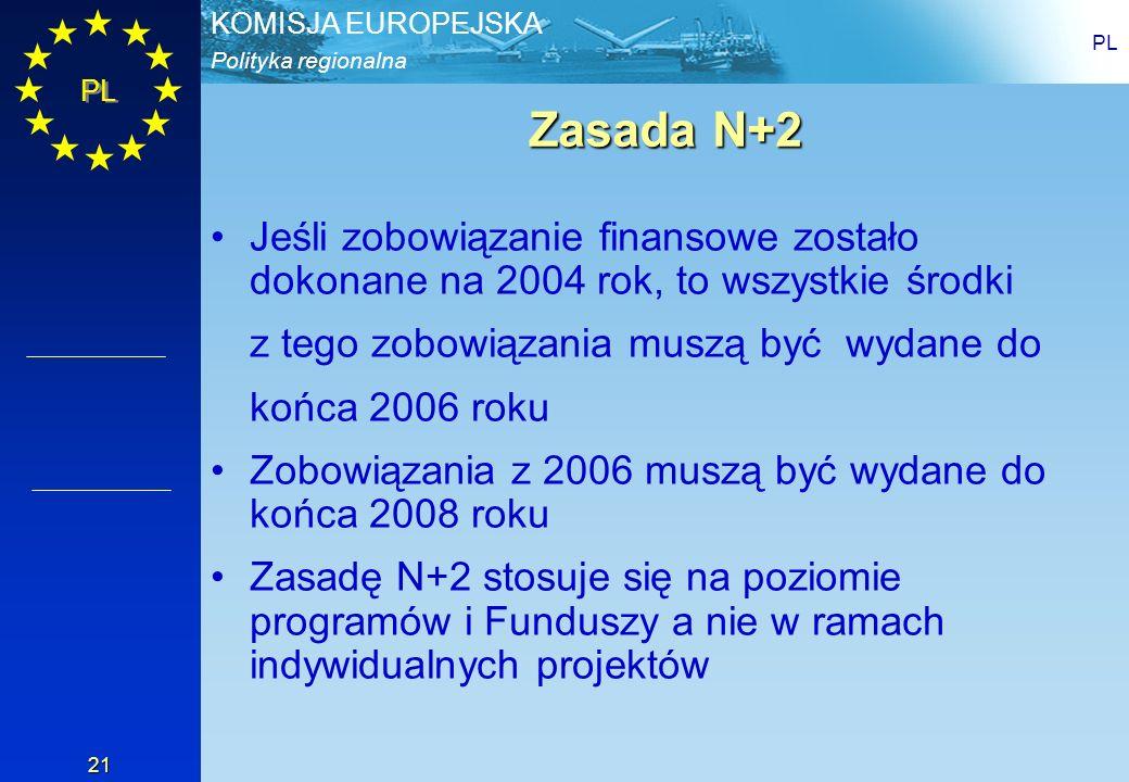 Polityka regionalna KOMISJA EUROPEJSKA PL 21 Zasada N+2 Jeśli zobowiązanie finansowe zostało dokonane na 2004 rok, to wszystkie środki z tego zobowiąz