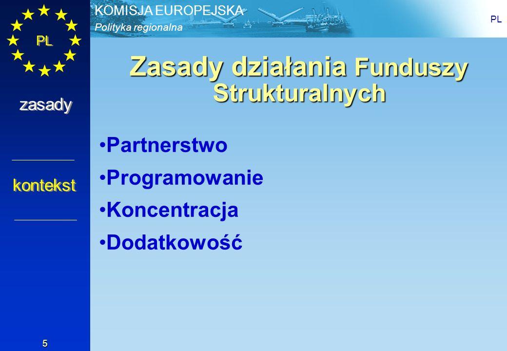 Polityka regionalna KOMISJA EUROPEJSKA PL 6 Zasady działania – Partnerstwo Państwo Członkowskie + Komisja Władze centralne + władze regionalne Administracja + partnerzy społeczni & organizacje pozarządowe krajowy/lokalny wkład w finansowanie i zarządzanie zasady Partnerstwo Programowanie Koncentracja Dodatkowość Partnerstwo Programowanie Koncentracja Dodatkowość