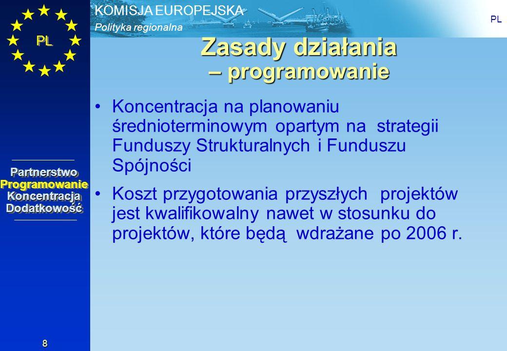 Polityka regionalna KOMISJA EUROPEJSKA PL 9 Zasady działania – koncentracja koncentracja na ograniczonej liczbie priorytetów cztery kluczowe priorytety w PWW: rozwój przedsiębiorstw, zasoby ludzkie infrastruktura rozwój regionalny Minimalna liczba programów (6 + PT) 1 Regionalny Program, nie 16 na lata 2004-2006 Analiza gospodarcza i uzasadnienie projektów zasady Partnerstwo Programowanie Koncentracja DodatkowośćPartnerstwo Programowanie Koncentracja Dodatkowość