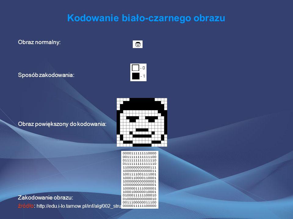 Kodowanie biało-czarnego obrazu Obraz normalny: Sposób zakodowania: Obraz powiększony do kodowania: Zakodowanie obrazu: źródło: http://edu.i-lo.tarnow