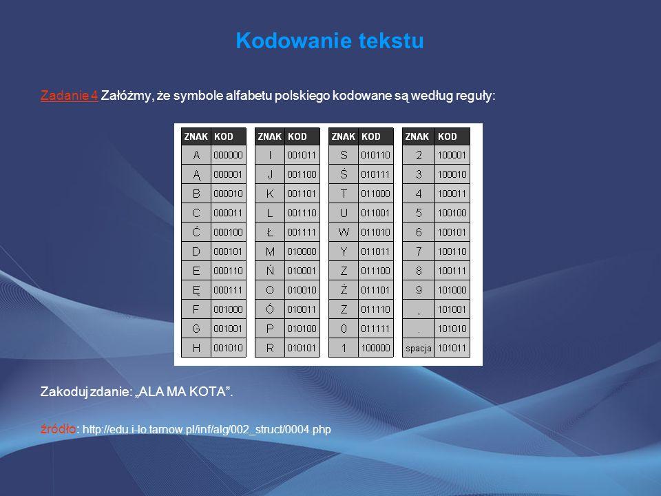 Kodowanie tekstu Zadanie 4 Załóżmy, że symbole alfabetu polskiego kodowane są według reguły: Zakoduj zdanie: ALA MA KOTA. źródło: http://edu.i-lo.tarn