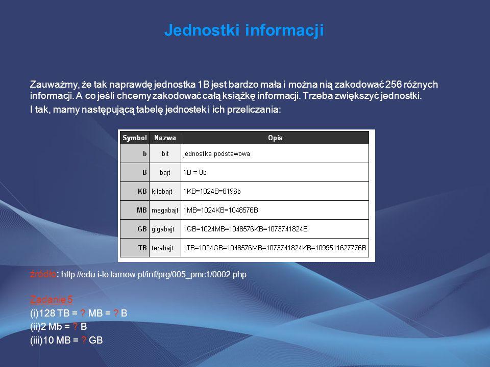 Jednostki informacji Zauważmy, że tak naprawdę jednostka 1B jest bardzo mała i można nią zakodować 256 różnych informacji. A co jeśli chcemy zakodować