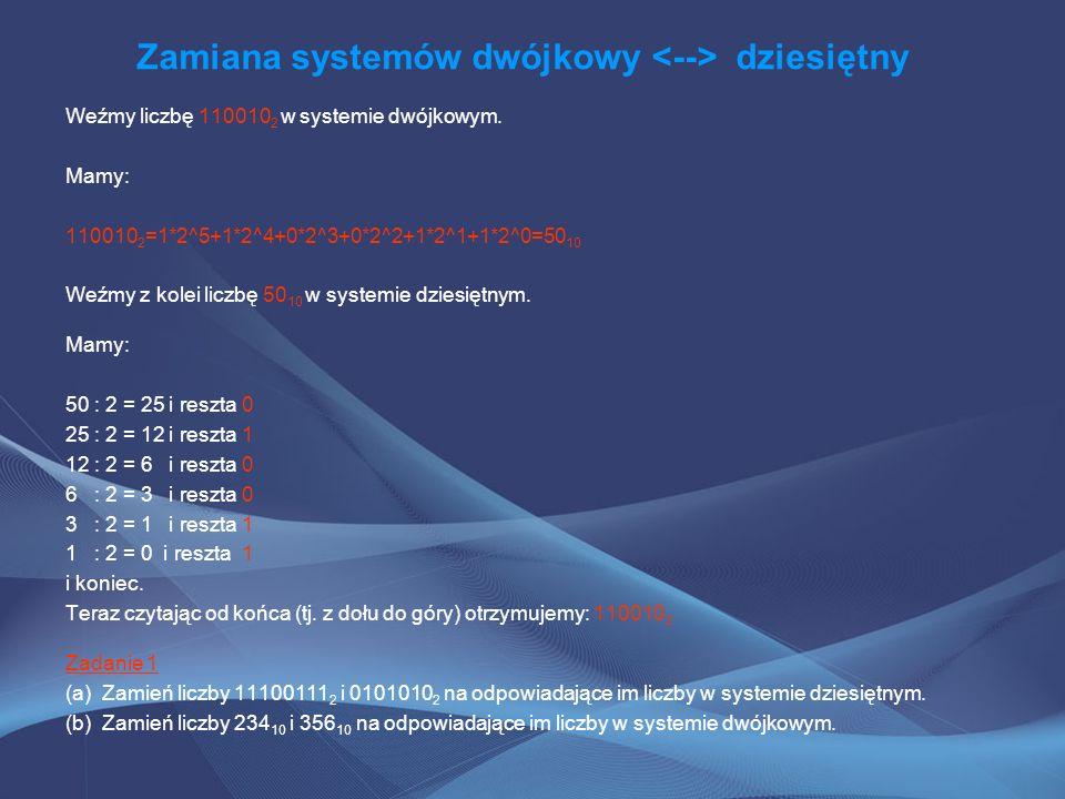 Zamiana systemów szesnastkowy dziesiętny System szesnastkowy, to również bardzo popularny system kodowania znaków w informatyce (np.