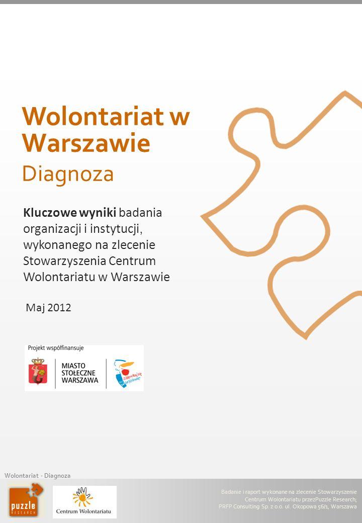 Wolontariat - Diagnoza Maj 2012 Kluczowe wyniki badania organizacji i instytucji, wykonanego na zlecenie Stowarzyszenia Centrum Wolontariatu w Warszaw