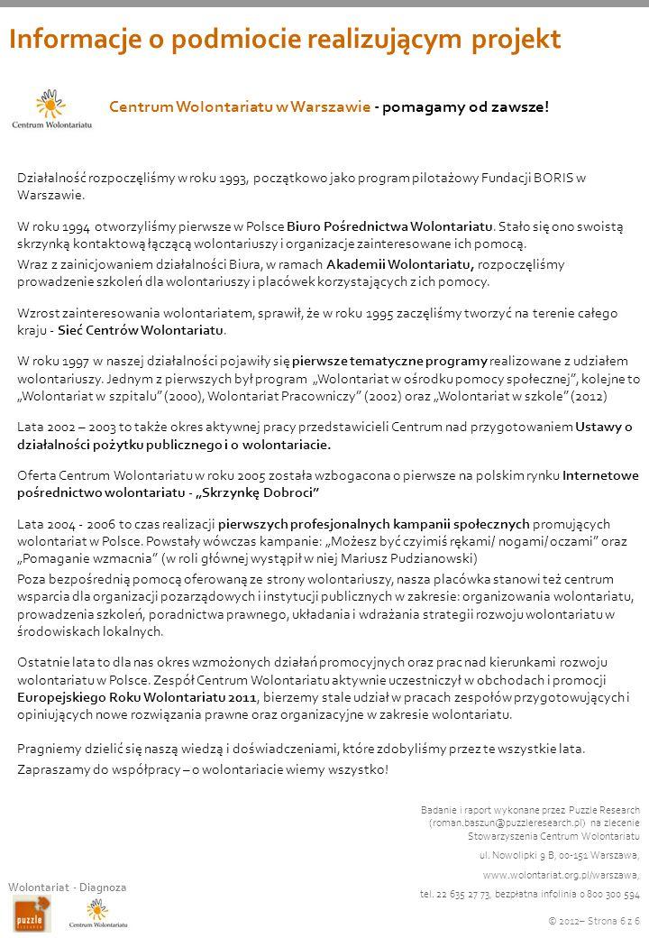 © 2012– Strona 6 z 6 Wolontariat - Diagnoza Centrum Wolontariatu w Warszawie - pomagamy od zawsze! Działalność rozpoczęliśmy w roku 1993, początkowo j