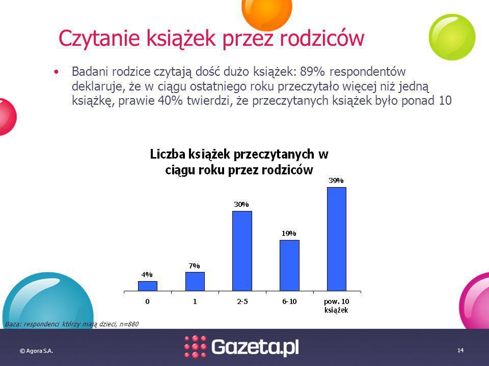 © Agora S.A. 14 Czytanie książek przez rodziców Badani rodzice czytają dość dużo książek: 89% respondentów deklaruje, że w ciągu ostatniego roku przec