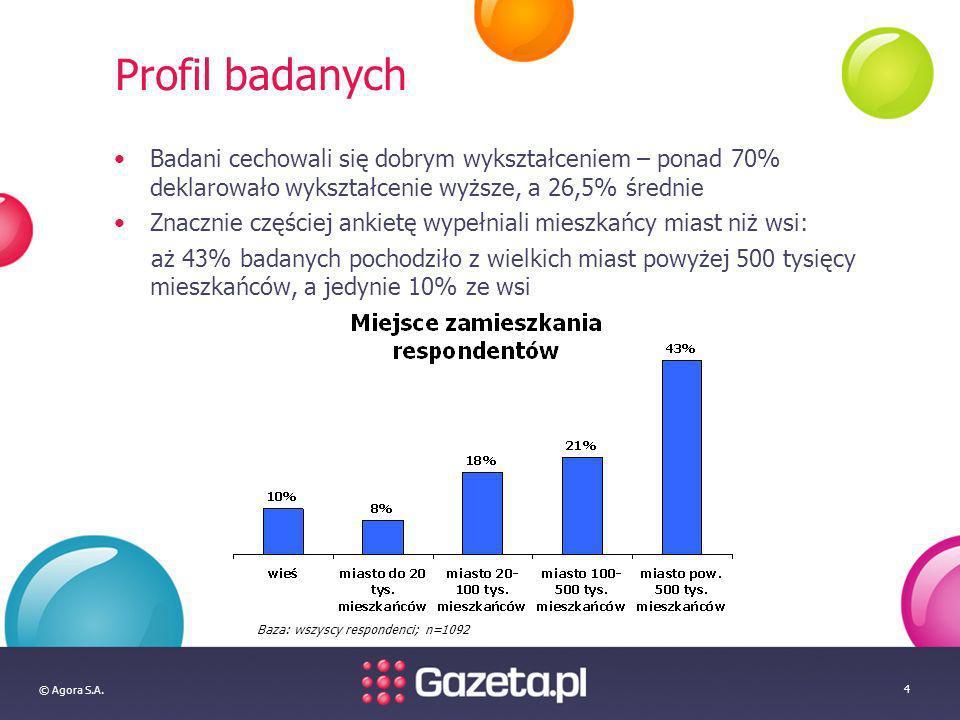© Agora S.A. 4 Profil badanych Badani cechowali się dobrym wykształceniem – ponad 70% deklarowało wykształcenie wyższe, a 26,5% średnie Znacznie częśc