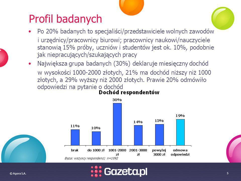© Agora S.A. 5 Profil badanych Po 20% badanych to specjaliści/przedstawiciele wolnych zawodów i urzędnicy/pracownicy biurowi; pracownicy naukowi/naucz