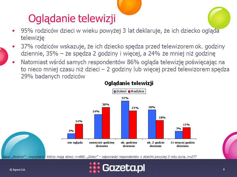 © Agora S.A. 8 Oglądanie telewizji 95% rodziców dzieci w wieku powyżej 3 lat deklaruje, że ich dziecko ogląda telewizję 37% rodziców wskazuje, że ich