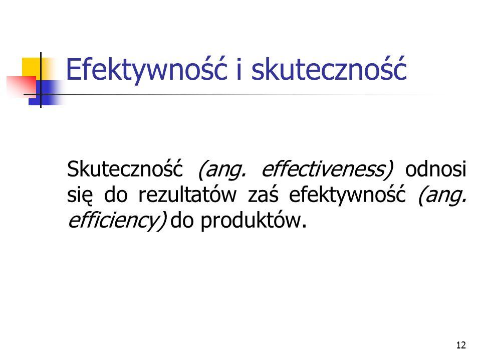 12 Efektywność i skuteczność Skuteczność (ang. effectiveness) odnosi się do rezultatów zaś efektywność (ang. efficiency) do produktów.