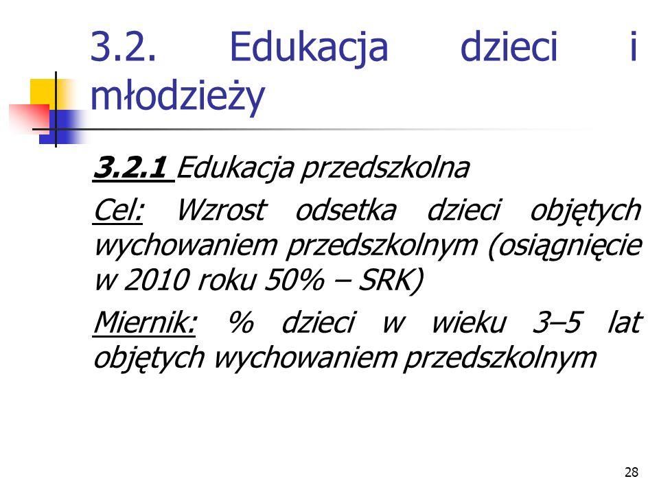 28 3.2. Edukacja dzieci i młodzieży 3.2.1 Edukacja przedszkolna Cel: Wzrost odsetka dzieci objętych wychowaniem przedszkolnym (osiągnięcie w 2010 roku