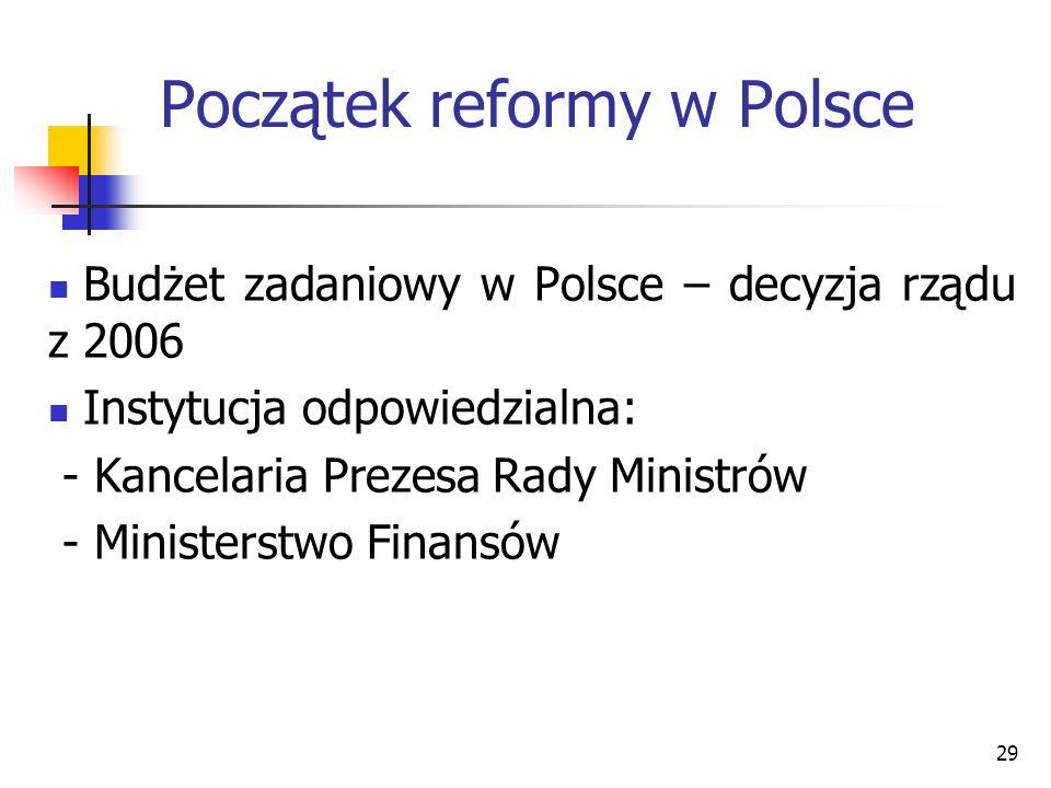 29 Początek reformy w Polsce Budżet zadaniowy w Polsce – decyzja rządu z 2006 Instytucja odpowiedzialna: - Kancelaria Prezesa Rady Ministrów - Ministe