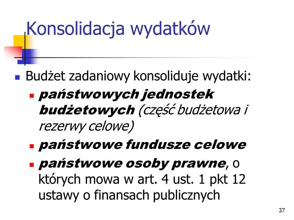37 Konsolidacja wydatków Budżet zadaniowy konsoliduje wydatki: państwowych jednostek budżetowych (część budżetowa i rezerwy celowe) państwowe fundusze