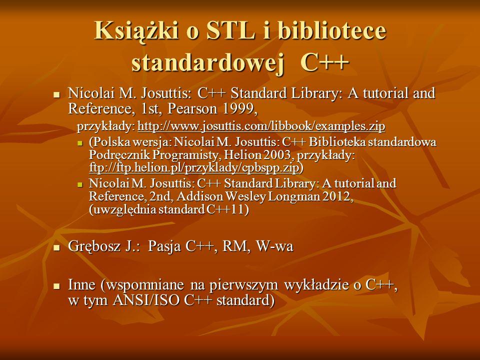 Książki o STL i bibliotece standardowej C++ Nicolai M. Josuttis: C++ Standard Library: A tutorial and Reference, 1st, Pearson 1999, Nicolai M. Josutti