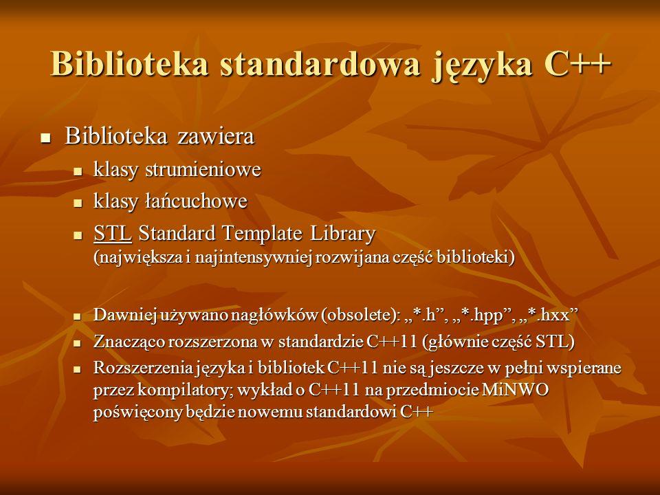 Biblioteka standardowa języka C++ Biblioteka zawiera Biblioteka zawiera klasy strumieniowe klasy strumieniowe klasy łańcuchowe klasy łańcuchowe STL St
