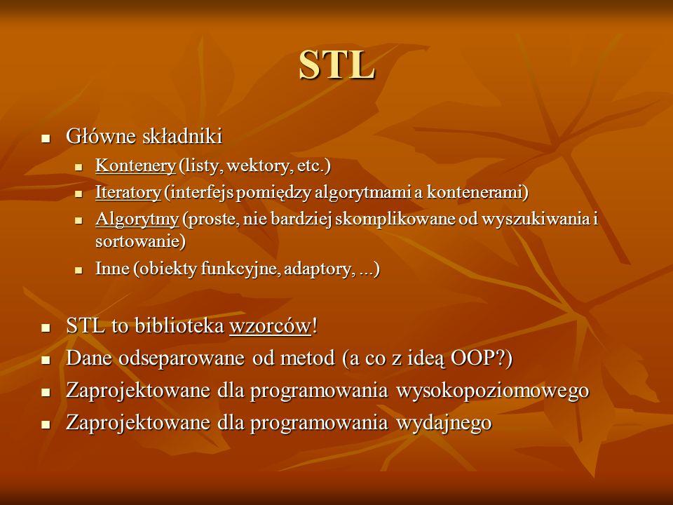 STL Główne składniki Główne składniki Kontenery (listy, wektory, etc.) Kontenery (listy, wektory, etc.) Iteratory (interfejs pomiędzy algorytmami a ko