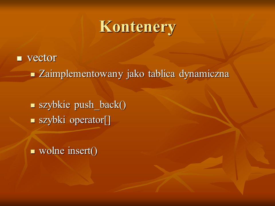 Kontenery vector vector Zaimplementowany jako tablica dynamiczna Zaimplementowany jako tablica dynamiczna szybkie push_back() szybkie push_back() szyb
