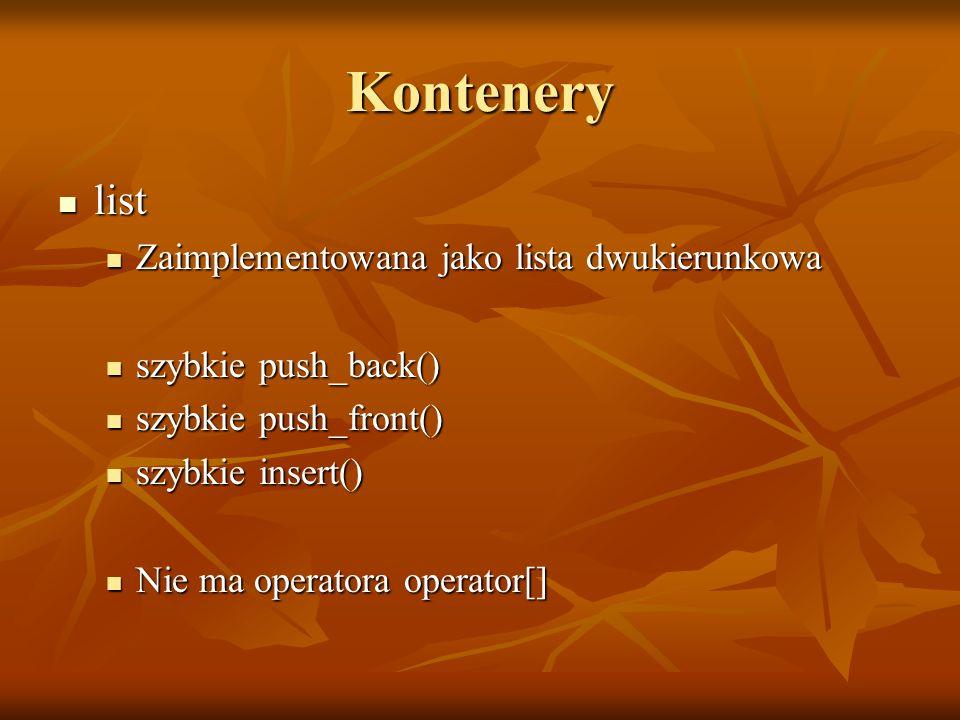 Kontenery list list Zaimplementowana jako lista dwukierunkowa Zaimplementowana jako lista dwukierunkowa szybkie push_back() szybkie push_back() szybki