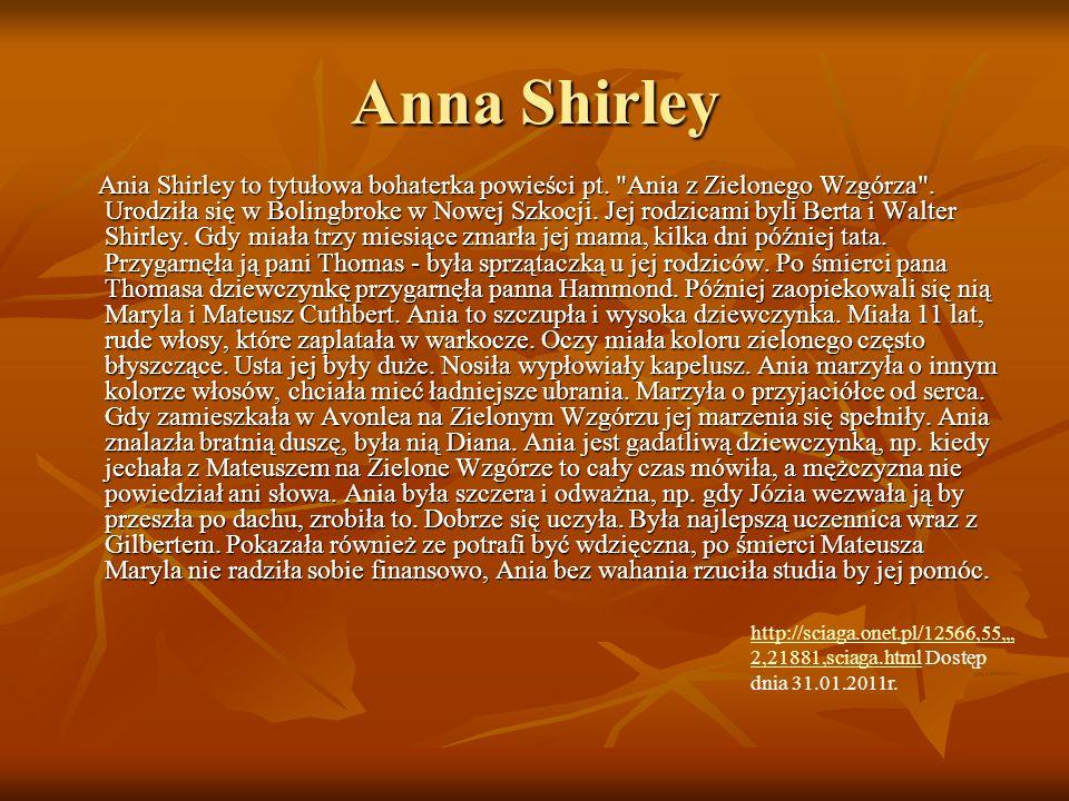 Anna Shirley Ania Shirley to tytułowa bohaterka powieści pt.