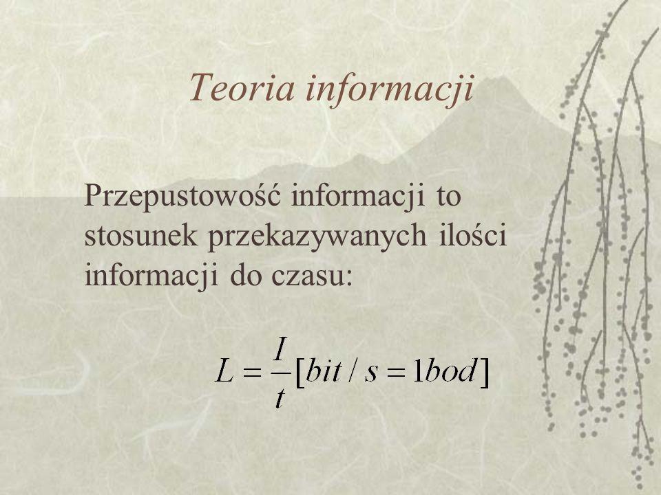 Teoria informacji Rodzaje kodów kody stałej długości – np. kody ASCII o długości 8 bitów (ponieważ długość jest stała nie ma kłopotu z podziałem na zn