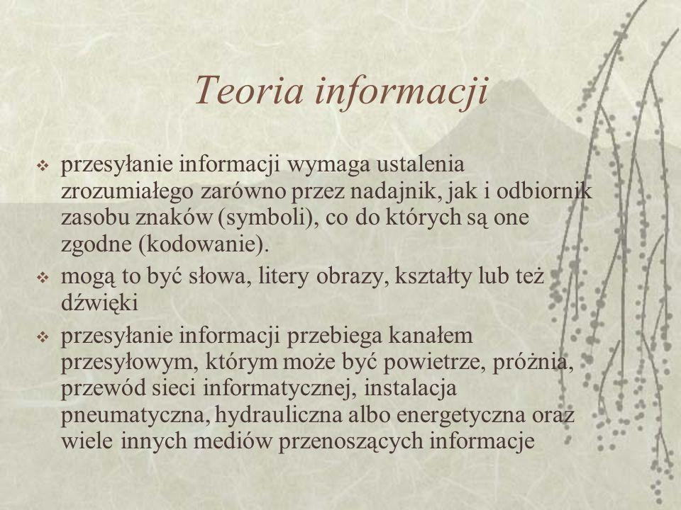 Teoria informacji przesyłanie informacji wymaga ustalenia zrozumiałego zarówno przez nadajnik, jak i odbiornik zasobu znaków (symboli), co do których są one zgodne (kodowanie).