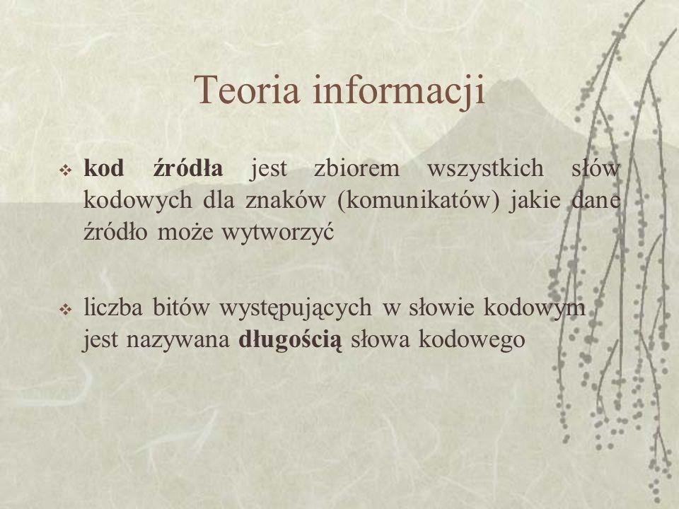 Teoria informacji w przesyłaniu informacji często stosowane są tzw.