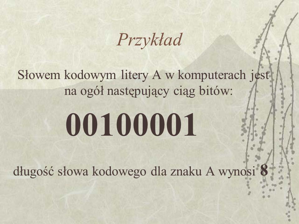 Przykład Słowem kodowym litery A w komputerach jest na ogół następujący ciąg bitów: długość słowa kodowego dla znaku A wynosi 8 00100001