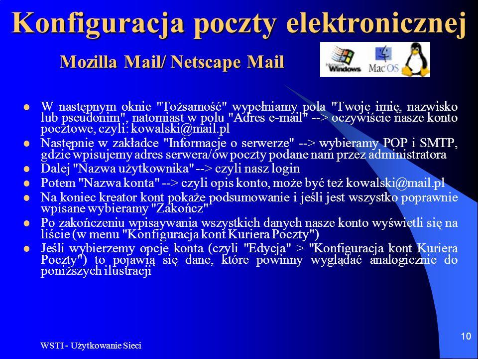 WSTI - Użytkowanie Sieci 11 Konfiguracja poczty elektronicznej Mozilla Mail/ Netscape Mail