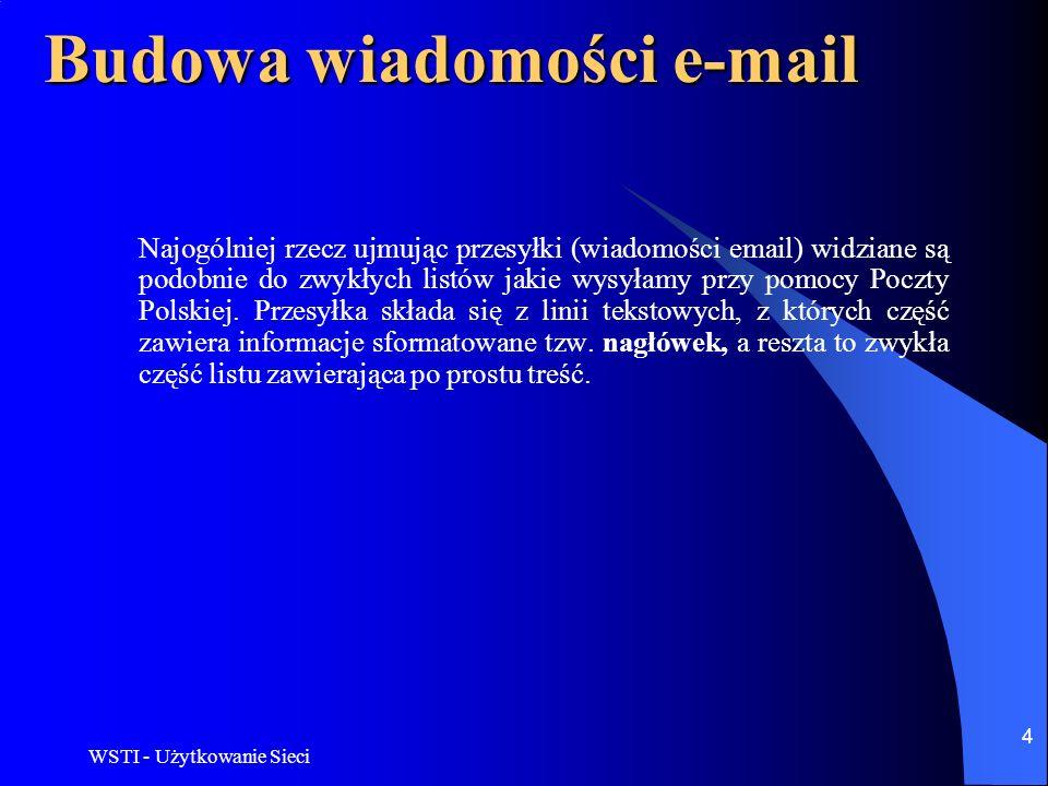WSTI - Użytkowanie Sieci 5 Konfiguracja poczty elektronicznej Opis ten jest dla Outlook Express w wersji 5.x i 6.x (we wcześniejszych wersjach nie działa uwierzytelnienie przy wysyłaniu).